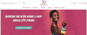 Interface du site fabellashop.ci